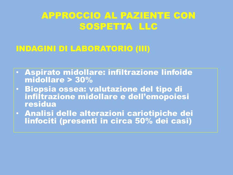 APPROCCIO AL PAZIENTE CON SOSPETTA LLC INDAGINI DI LABORATORIO (III) Aspirato midollare: infiltrazione linfoide midollare > 30% Biopsia ossea: valutaz