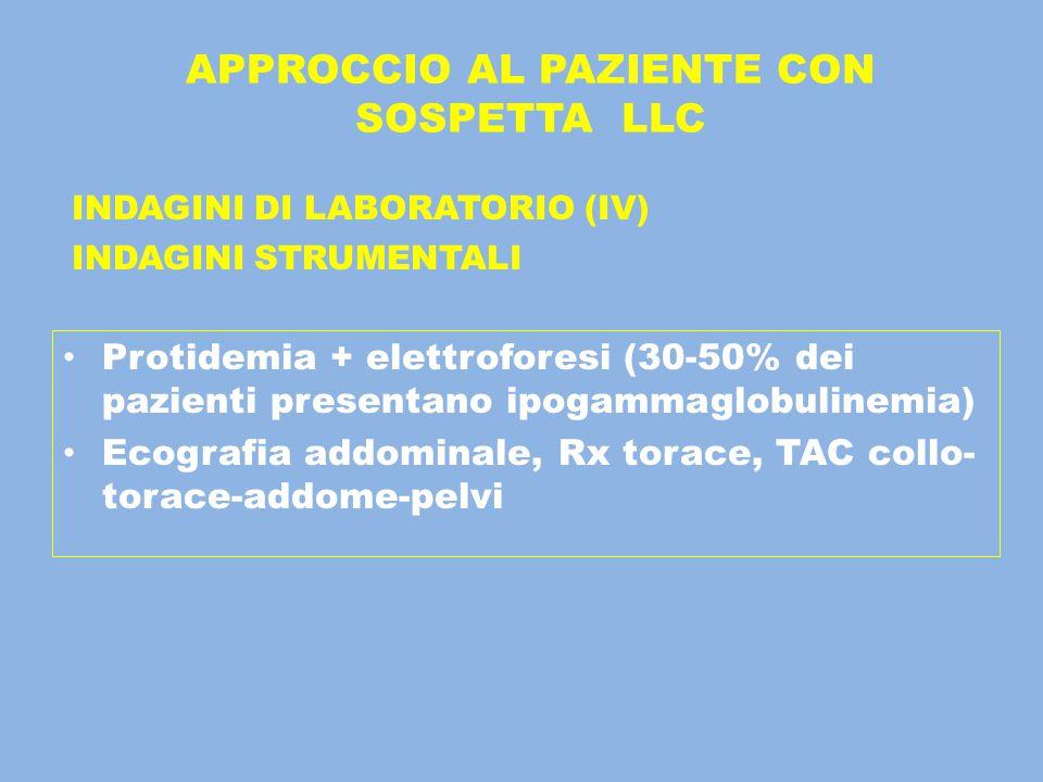 APPROCCIO AL PAZIENTE CON SOSPETTA LLC INDAGINI DI LABORATORIO (IV) INDAGINI STRUMENTALI Protidemia + elettroforesi (30-50% dei pazienti presentano ip
