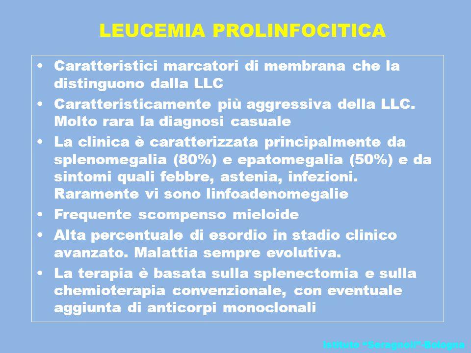 """Istituto """"Seragnoli""""-Bologna LEUCEMIA PROLINFOCITICA Caratteristici marcatori di membrana che la distinguono dalla LLC Caratteristicamente più aggress"""