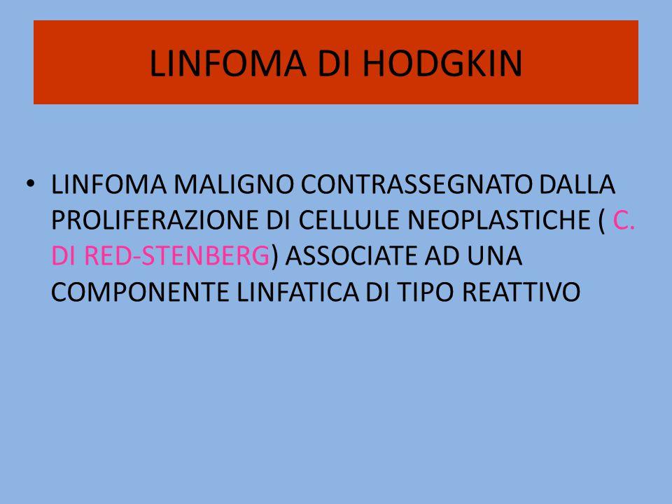 LINFOMA DI HODGKIN LINFOMA MALIGNO CONTRASSEGNATO DALLA PROLIFERAZIONE DI CELLULE NEOPLASTICHE ( C. DI RED-STENBERG) ASSOCIATE AD UNA COMPONENTE LINFA
