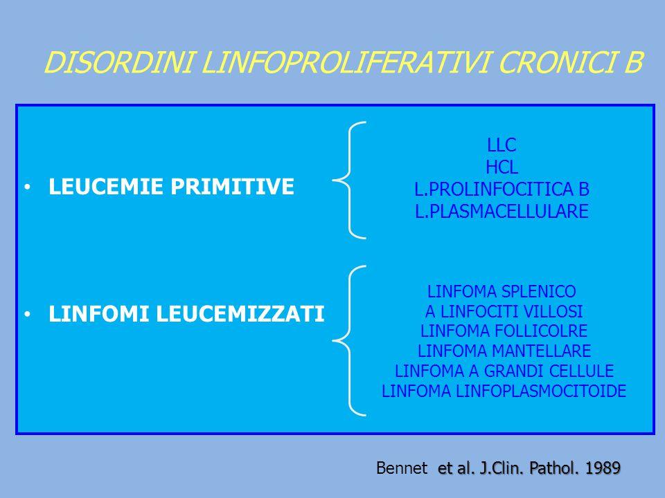 DISORDINI LINFOPROLIFERATIVI CRONICI B LEUCEMIE PRIMITIVE LINFOMI LEUCEMIZZATI LLC HCL L.PROLINFOCITICA B L.PLASMACELLULARE LINFOMA SPLENICO A LINFOCI