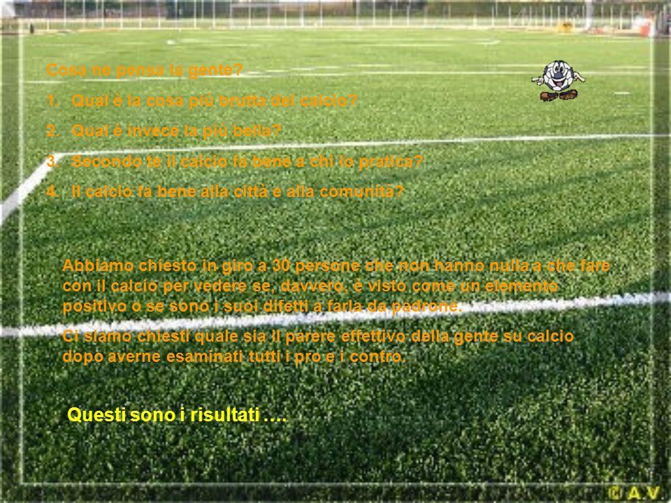 Cosa ne pensa la gente? 1.Qual è la cosa più brutta del calcio? 2.Qual è invece la più bella? 3.Secondo te il calcio fa bene a chi lo pratica? 4.Il ca