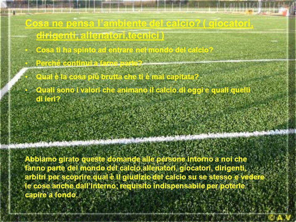 Cosa ne pensa l'ambiente del calcio? ( giocatori, dirigenti, allenatori,tecnici ) Cosa ti ha spinto ad entrare nel mondo del calcio? Perché continui