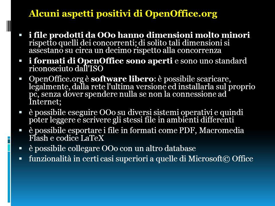 Alcuni aspetti positivi di OpenOffice.org  i file prodotti da OOo hanno dimensioni molto minori rispetto quelli dei concorrenti; di solito tali dimen