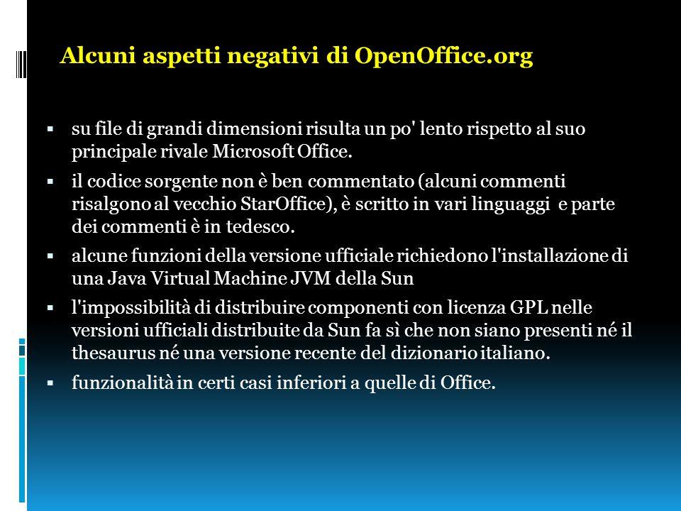 Alcuni aspetti negativi di OpenOffice.org  su file di grandi dimensioni risulta un po' lento rispetto al suo principale rivale Microsoft Office.  il