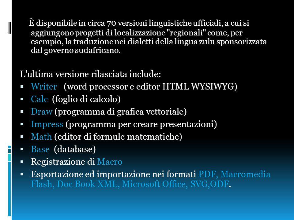 È disponibile in circa 70 versioni linguistiche ufficiali, a cui si aggiungono progetti di localizzazione