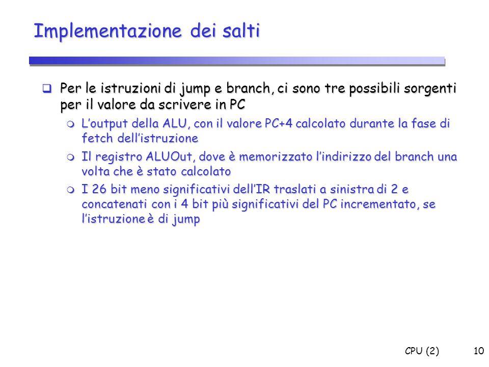 CPU (2)10 Implementazione dei salti  Per le istruzioni di jump e branch, ci sono tre possibili sorgenti per il valore da scrivere in PC  L'output de
