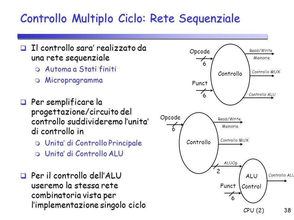 CPU (2)38 Controllo Multiplo Ciclo: Rete Sequenziale  Il controllo sara' realizzato da una rete sequenziale  Automa a Stati finiti  Micropragramma