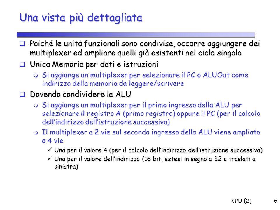 CPU (2)47 Segnali di Controllo: (ID) A = Reg[IR[25-21]]; (A = Reg[rs]) B = Reg[IR[20-15]]; (B = Reg[rt]) - A e B sempre sovrascritti (nessun segnale di controllo) ALUOut = (PC + sign-extend(IR[15-0]) << 2); - ALUSrcA=0, ALUSrcB=11 - ALUOp=00 0 0 X 0 0 X 3 0 X X 010 0