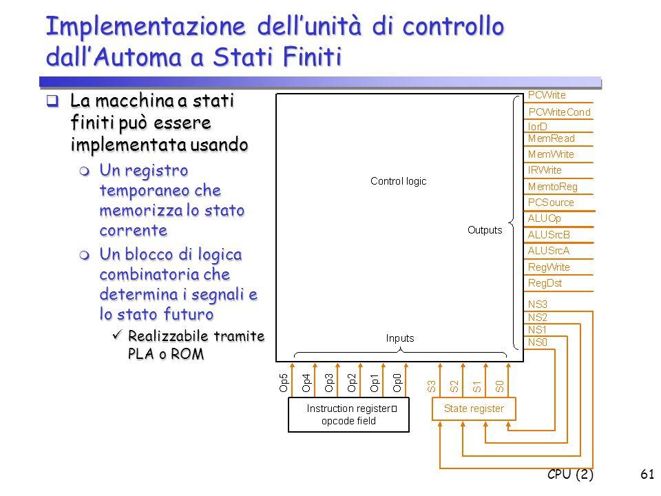 CPU (2)61 Implementazione dell'unità di controllo dall'Automa a Stati Finiti  La macchina a stati finiti può essere implementata usando  Un registro