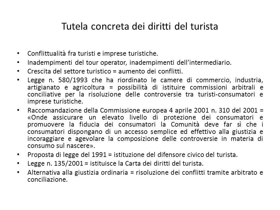Tutela concreta dei diritti del turista Conflittualità fra turisti e imprese turistiche. Inadempimenti del tour operator, inadempimenti dell'intermedi