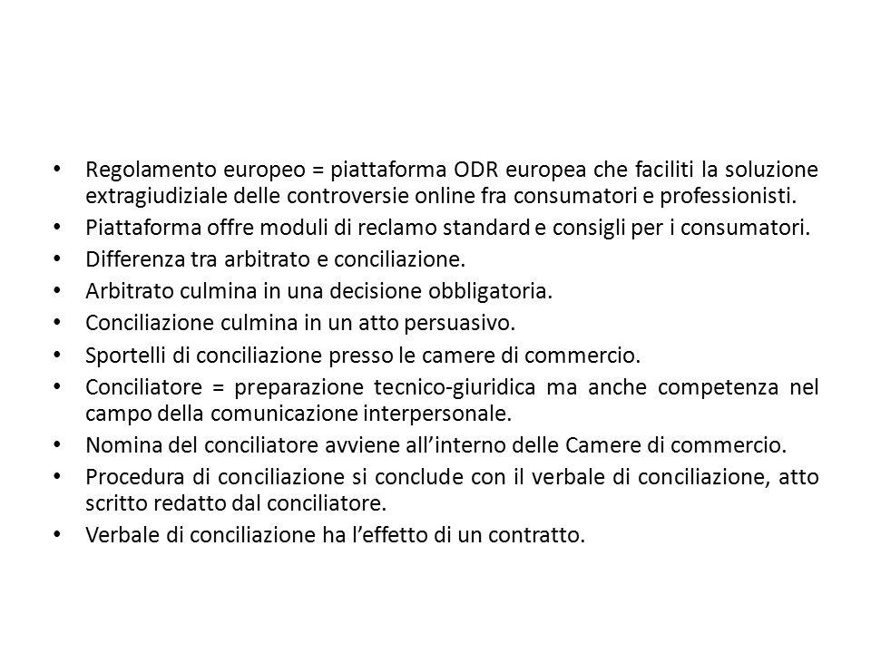 Regolamento europeo = piattaforma ODR europea che faciliti la soluzione extragiudiziale delle controversie online fra consumatori e professionisti. Pi