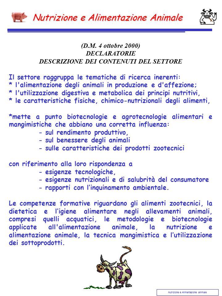 Nutrizione e Alimentazione animale Nutrizione e Alimentazione Animale (D.M. 4 ottobre 2000) DECLARATORIE DESCRIZIONE DEI CONTENUTI DEL SETTORE Il sett