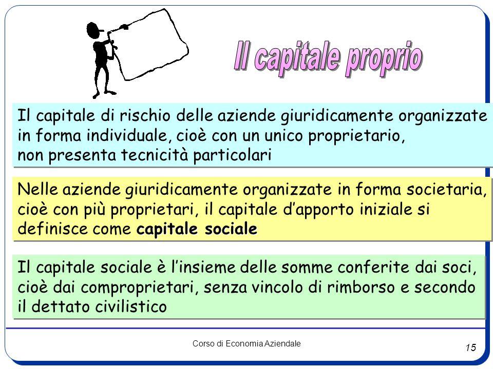 15 Corso di Economia Aziendale Il capitale di rischio delle aziende giuridicamente organizzate in forma individuale, cioè con un unico proprietario, n