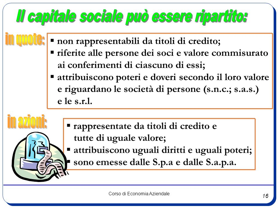 16 Corso di Economia Aziendale  non rappresentabili da titoli di credito;  riferite alle persone dei soci e valore commisurato ai conferimenti di ci