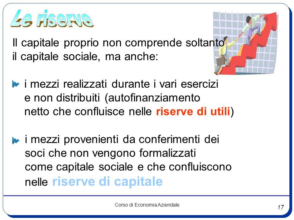 17 Corso di Economia Aziendale Il capitale proprio non comprende soltanto il capitale sociale, ma anche: i mezzi realizzati durante i vari esercizi e