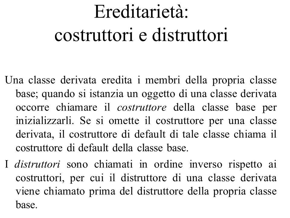 Ereditarietà: costruttori e distruttori Una classe derivata eredita i membri della propria classe base; quando si istanzia un oggetto di una classe de