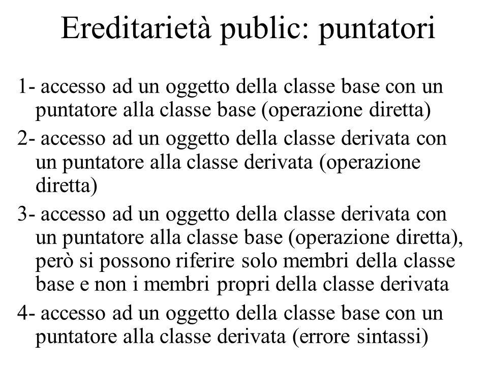 Ereditarietà public: puntatori 1- accesso ad un oggetto della classe base con un puntatore alla classe base (operazione diretta) 2- accesso ad un ogge