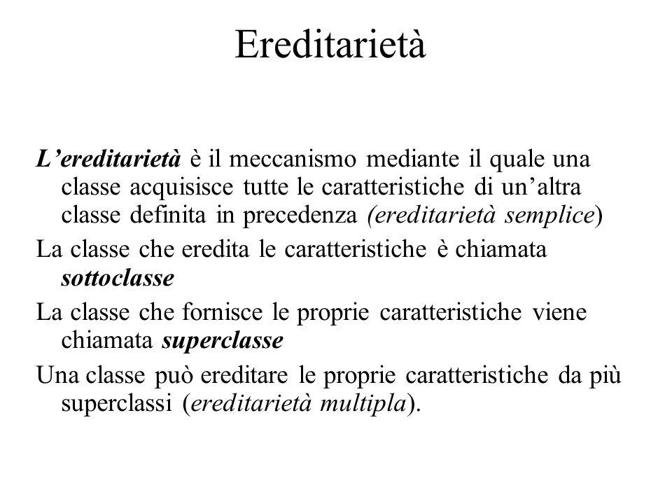 Ereditarietà L'ereditarietà è il meccanismo mediante il quale una classe acquisisce tutte le caratteristiche di un'altra classe definita in precedenza
