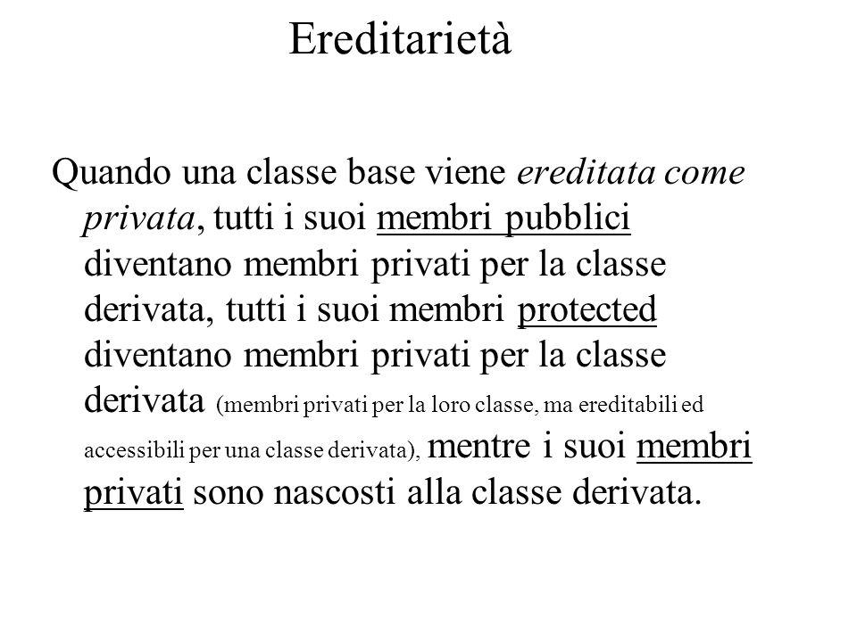 Ereditarietà Quando una classe base viene ereditata come privata, tutti i suoi membri pubblici diventano membri privati per la classe derivata, tutti