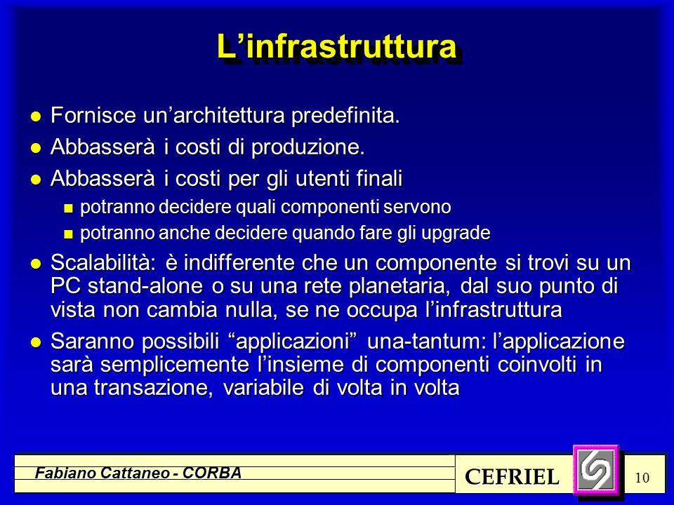 CEFRIEL Fabiano Cattaneo - CORBA 10 L'infrastrutturaL'infrastruttura l Fornisce un'architettura predefinita.