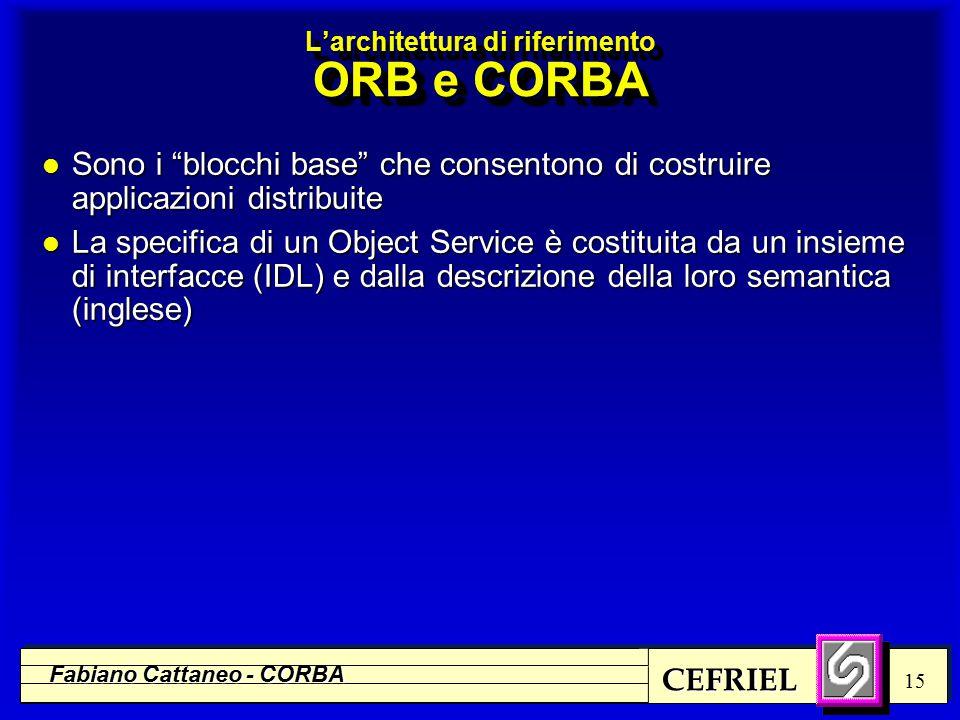 CEFRIEL Fabiano Cattaneo - CORBA 15 l Sono i blocchi base che consentono di costruire applicazioni distribuite l La specifica di un Object Service è costituita da un insieme di interfacce (IDL) e dalla descrizione della loro semantica (inglese) L'architettura di riferimento ORB e CORBA