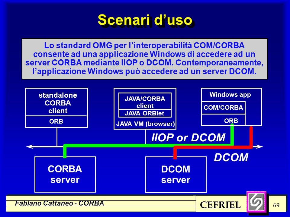 CEFRIEL Fabiano Cattaneo - CORBA 69 standalone CORBA client Lo standard OMG per l'interoperabilità COM/CORBA consente ad una applicazione Windows di accedere ad un server CORBA mediante IIOP o DCOM.