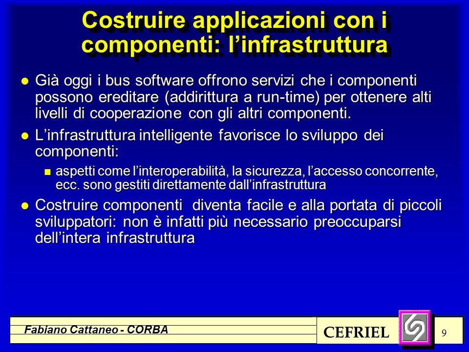 CEFRIEL Fabiano Cattaneo - CORBA 9 Costruire applicazioni con i componenti: l'infrastruttura l Già oggi i bus software offrono servizi che i componenti possono ereditare (addirittura a run-time) per ottenere alti livelli di cooperazione con gli altri componenti.