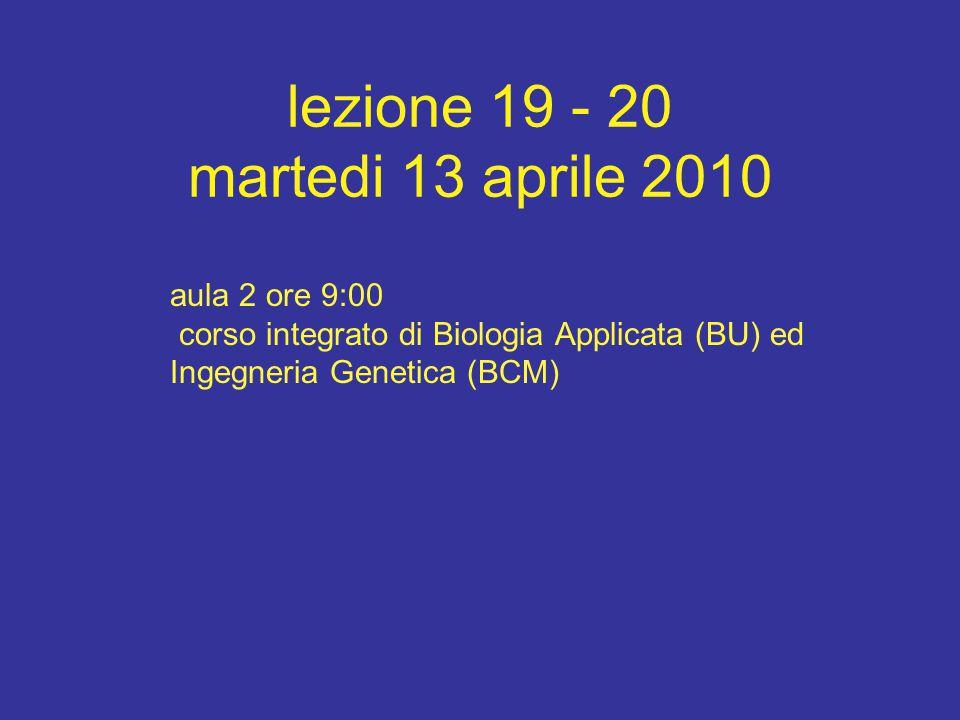 lezione 19 - 20 martedi 13 aprile 2010 aula 2 ore 9:00 corso integrato di Biologia Applicata (BU) ed Ingegneria Genetica (BCM)