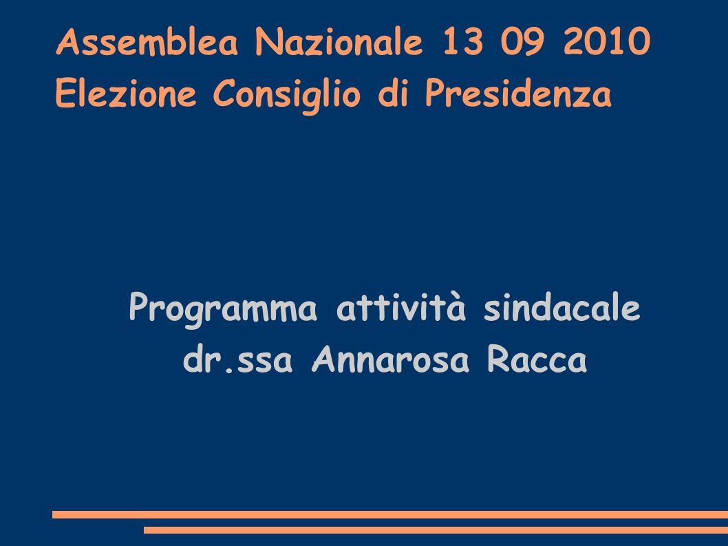 Assemblea Nazionale 13 09 2010 Elezione Consiglio di Presidenza Programma attività sindacale dr.ssa Annarosa Racca