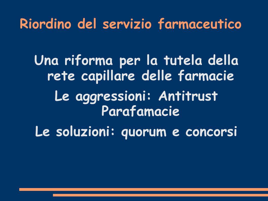 Riordino del servizio farmaceutico Una riforma per la tutela della rete capillare delle farmacie Le aggressioni: Antitrust Parafamacie Le soluzioni: quorum e concorsi