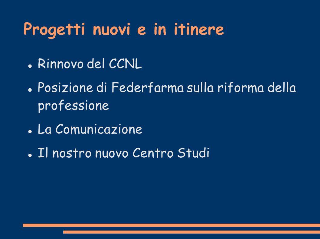 Progetti nuovi e in itinere Rinnovo del CCNL Posizione di Federfarma sulla riforma della professione La Comunicazione Il nostro nuovo Centro Studi