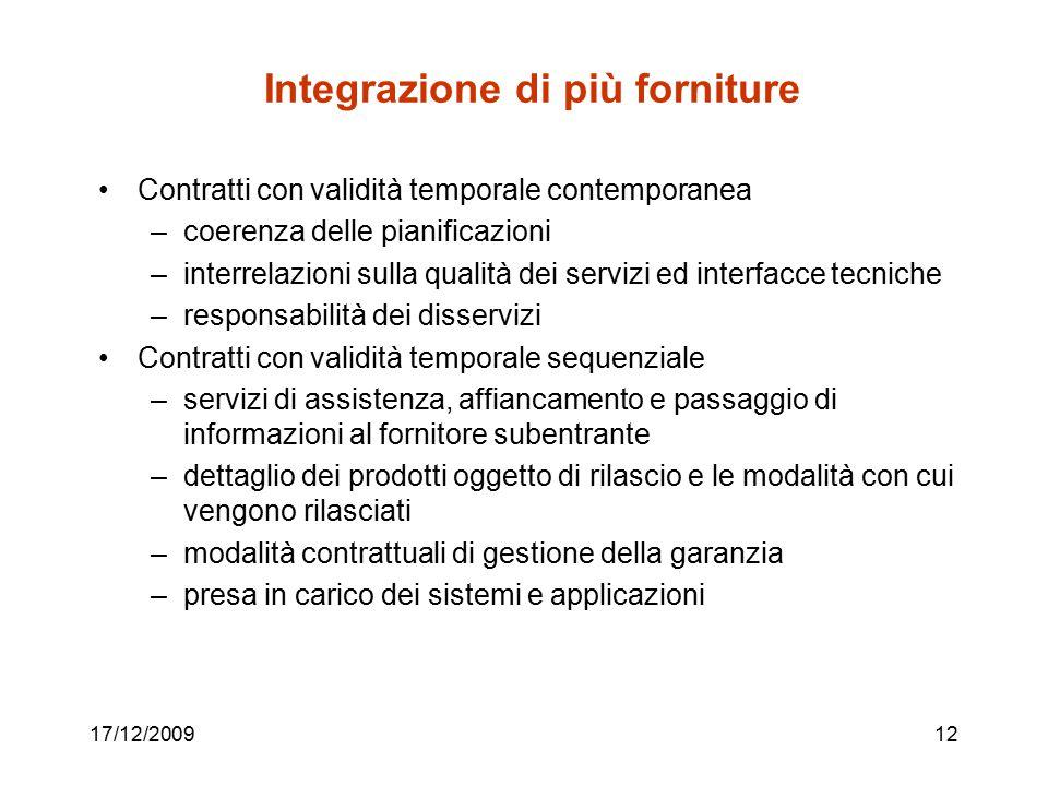 17/12/200912 Integrazione di più forniture Contratti con validità temporale contemporanea –coerenza delle pianificazioni –interrelazioni sulla qualità