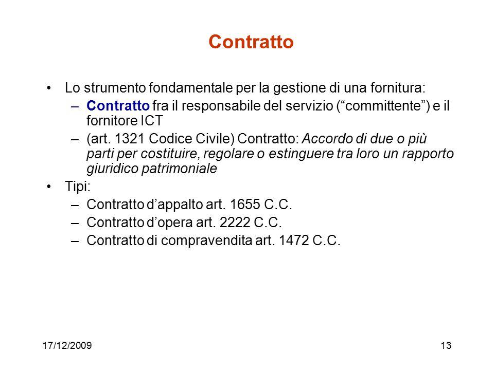 """17/12/200913 Contratto Lo strumento fondamentale per la gestione di una fornitura: –Contratto fra il responsabile del servizio (""""committente"""") e il fo"""