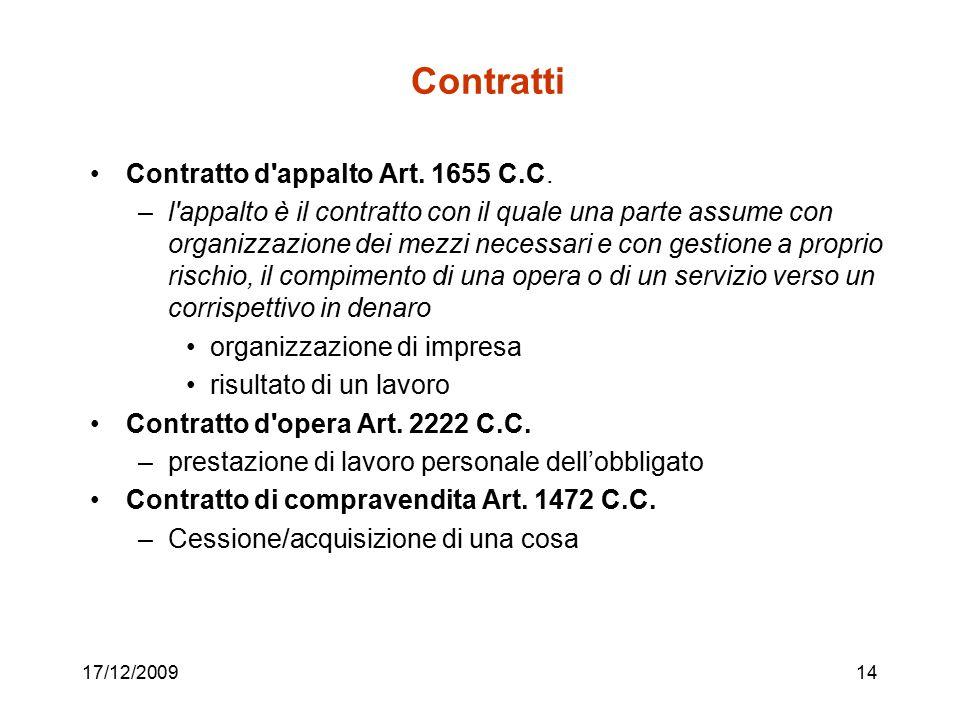 17/12/200914 Contratti Contratto d'appalto Art. 1655 C.C. –l'appalto è il contratto con il quale una parte assume con organizzazione dei mezzi necessa