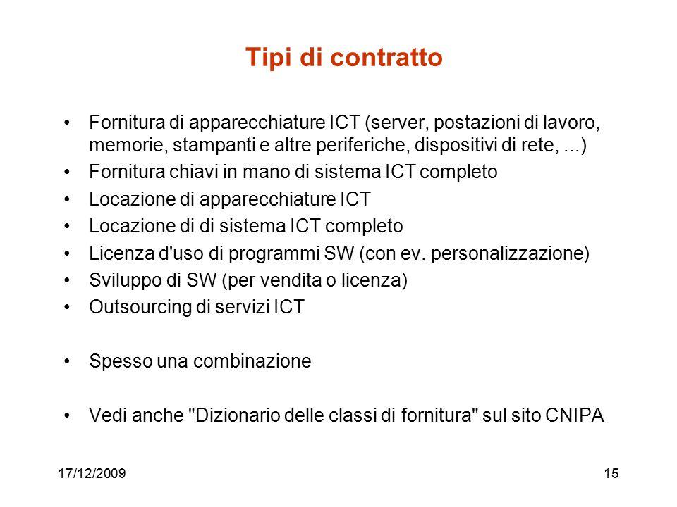 17/12/200915 Tipi di contratto Fornitura di apparecchiature ICT (server, postazioni di lavoro, memorie, stampanti e altre periferiche, dispositivi di