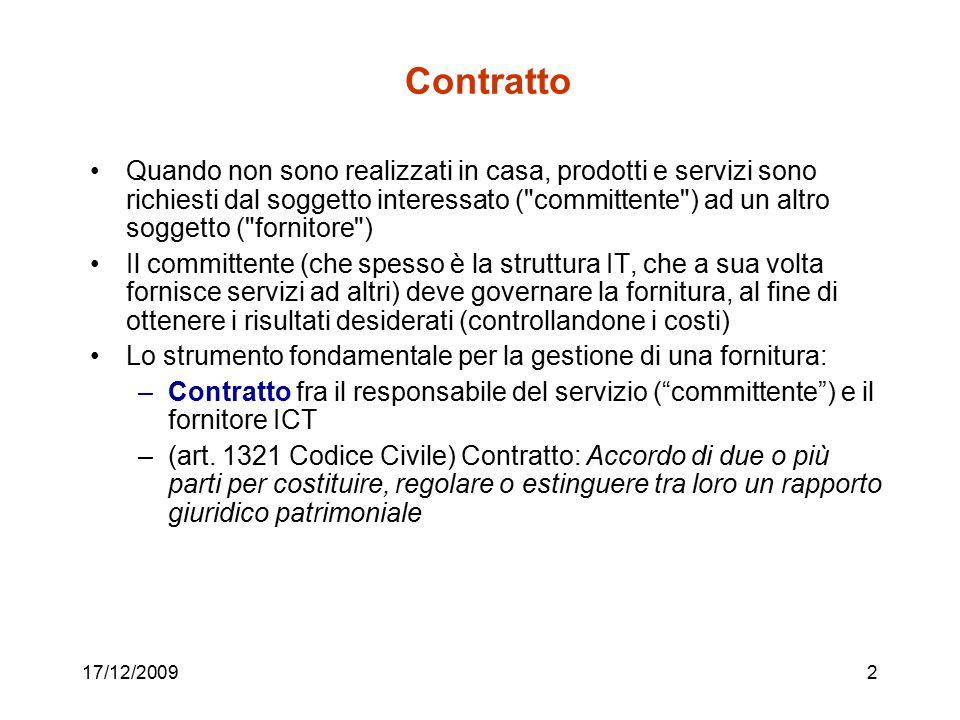 17/12/20092 Contratto Quando non sono realizzati in casa, prodotti e servizi sono richiesti dal soggetto interessato (