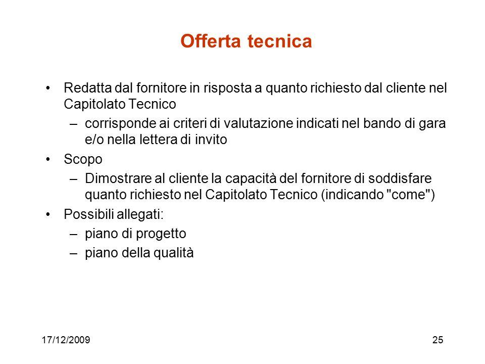17/12/200925 Offerta tecnica Redatta dal fornitore in risposta a quanto richiesto dal cliente nel Capitolato Tecnico –corrisponde ai criteri di valuta