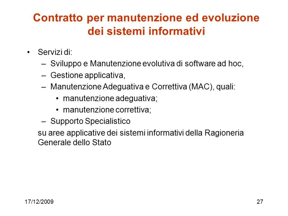 Contratto per manutenzione ed evoluzione dei sistemi informativi Servizi di: –Sviluppo e Manutenzione evolutiva di software ad hoc, –Gestione applicat