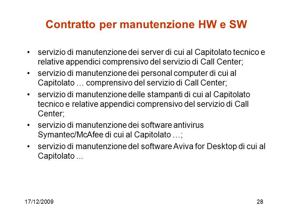 Contratto per manutenzione HW e SW servizio di manutenzione dei server di cui al Capitolato tecnico e relative appendici comprensivo del servizio di C