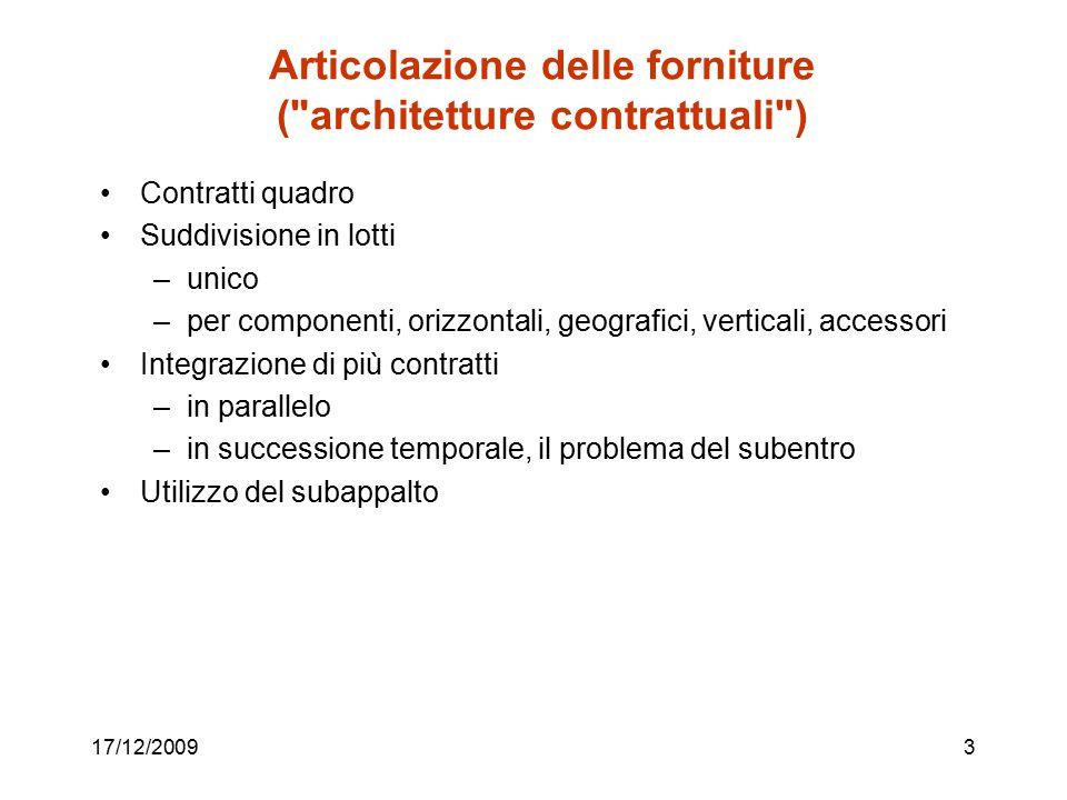 Articolazione delle forniture (