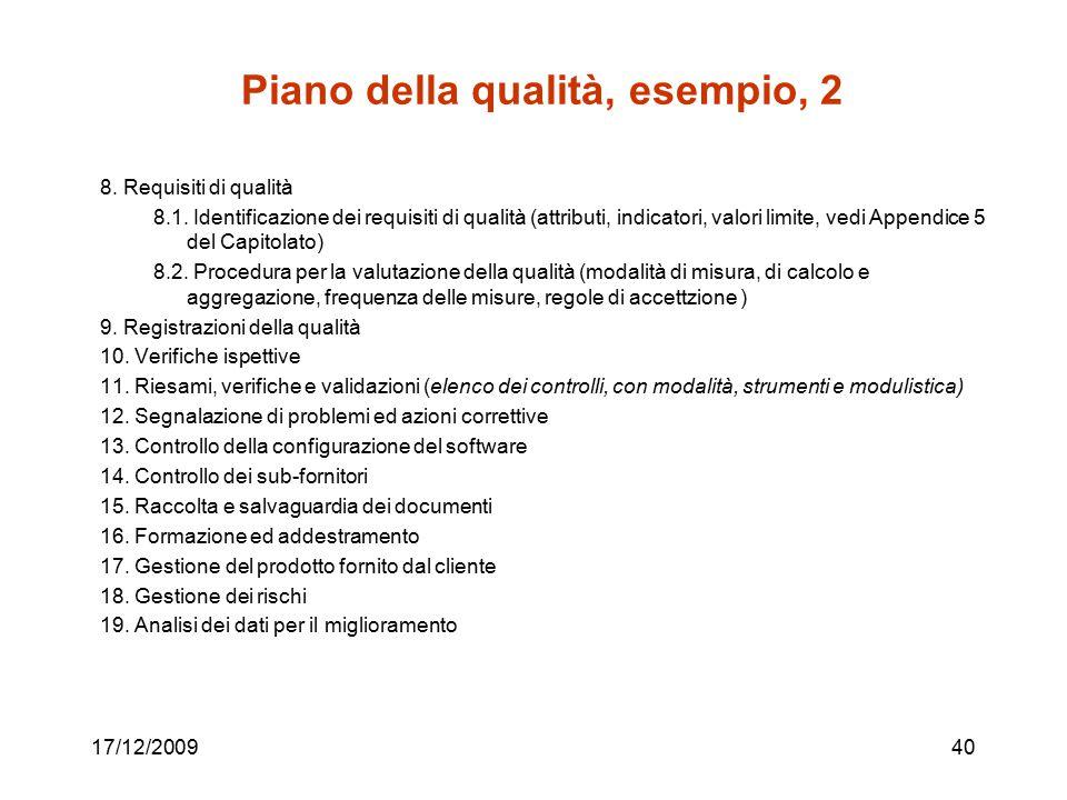 Piano della qualità, esempio, 2 8. Requisiti di qualità 8.1. Identificazione dei requisiti di qualità (attributi, indicatori, valori limite, vedi Appe