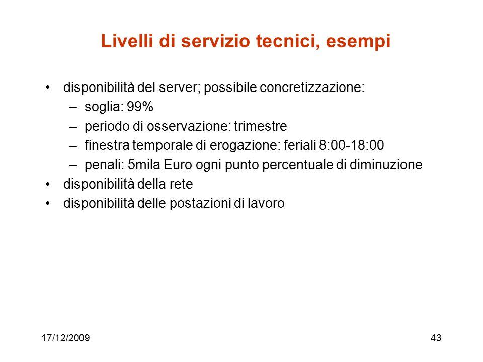17/12/200943 Livelli di servizio tecnici, esempi disponibilità del server; possibile concretizzazione: –soglia: 99% –periodo di osservazione: trimestr