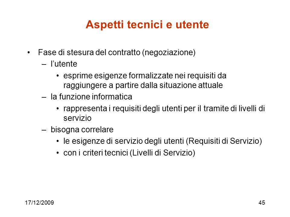 17/12/200945 Aspetti tecnici e utente Fase di stesura del contratto (negoziazione) –l'utente esprime esigenze formalizzate nei requisiti da raggiunger