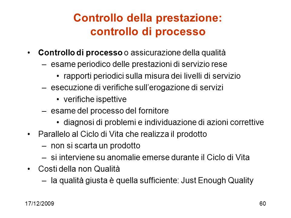 17/12/200960 Controllo della prestazione: controllo di processo Controllo di processo o assicurazione della qualità –esame periodico delle prestazioni