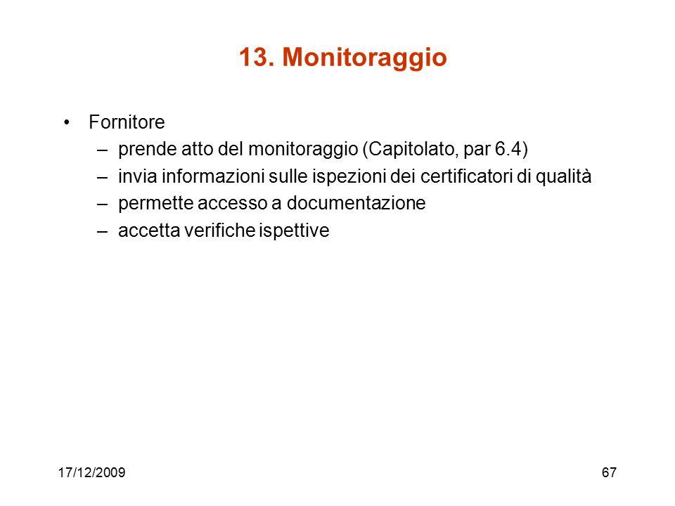13. Monitoraggio Fornitore –prende atto del monitoraggio (Capitolato, par 6.4) –invia informazioni sulle ispezioni dei certificatori di qualità –perme