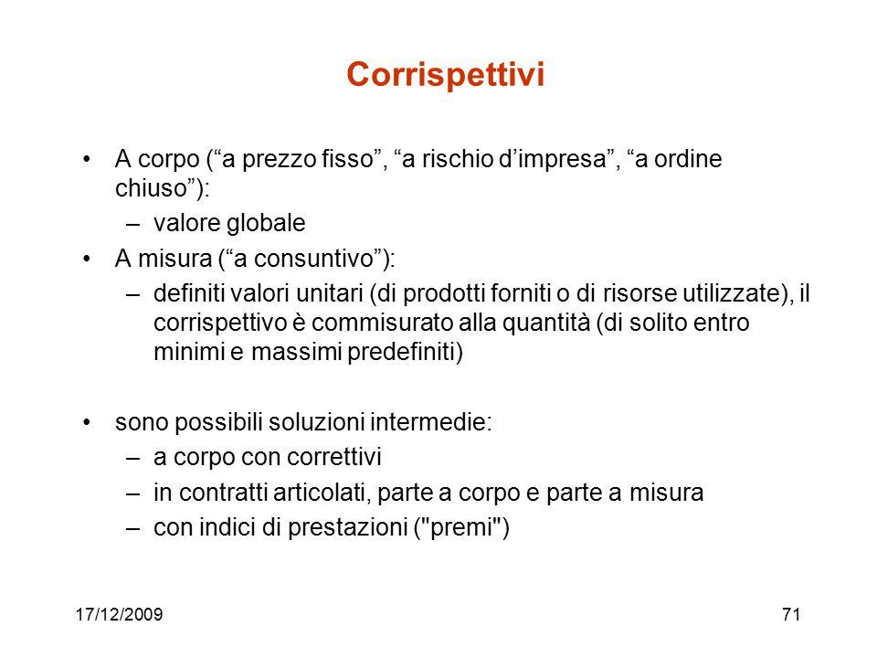 """17/12/200971 Corrispettivi A corpo (""""a prezzo fisso"""", """"a rischio d'impresa"""", """"a ordine chiuso""""): –valore globale A misura (""""a consuntivo""""): –definiti"""