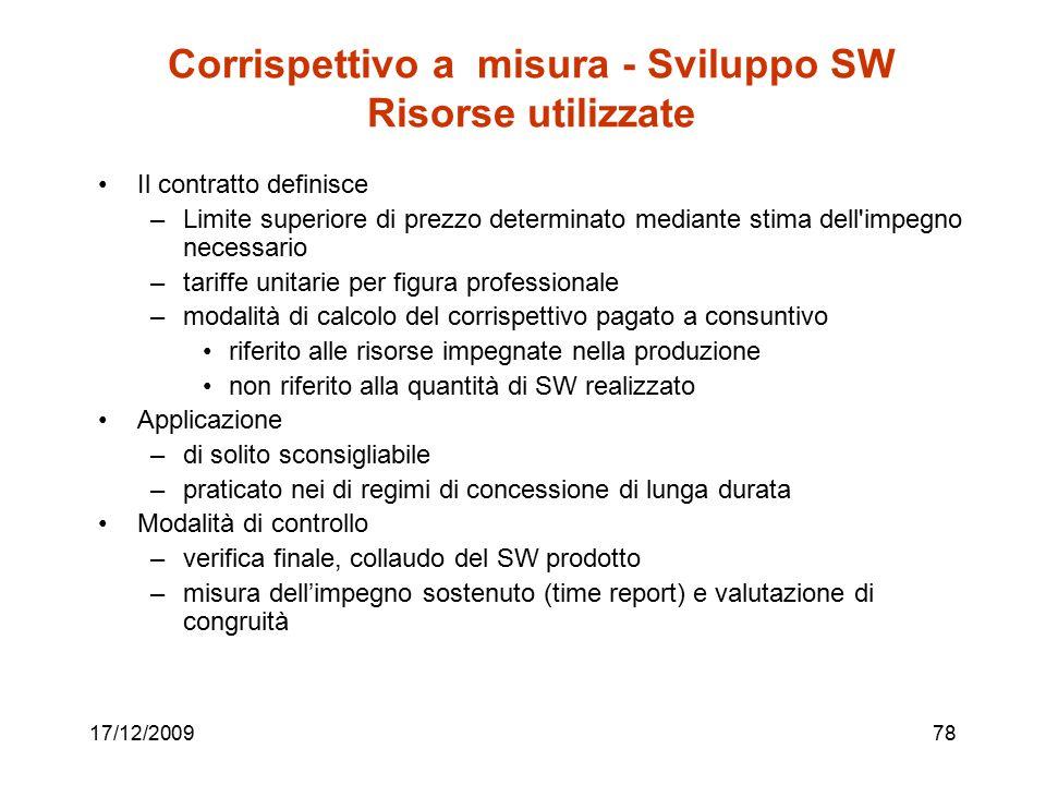 17/12/200978 Corrispettivo a misura - Sviluppo SW Risorse utilizzate Il contratto definisce –Limite superiore di prezzo determinato mediante stima del