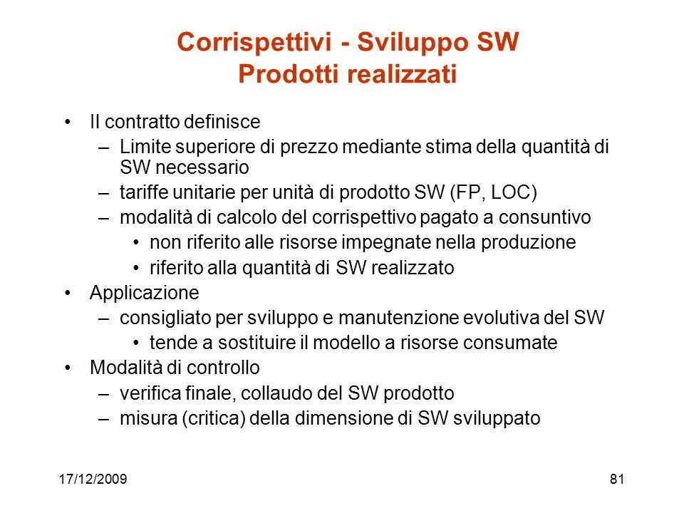 17/12/200981 Corrispettivi - Sviluppo SW Prodotti realizzati Il contratto definisce –Limite superiore di prezzo mediante stima della quantità di SW ne