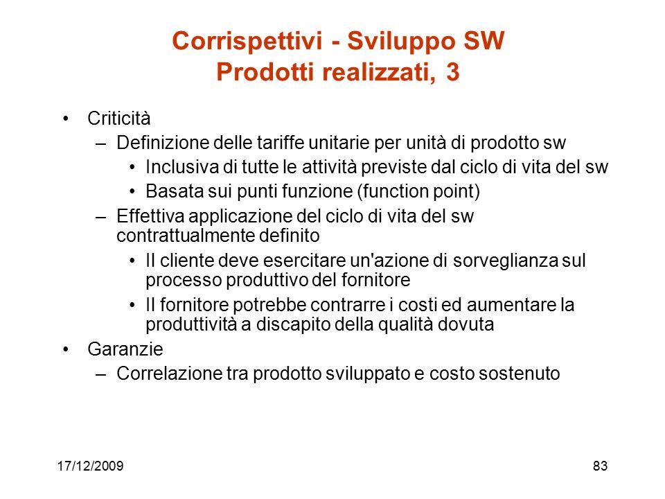 17/12/200983 Corrispettivi - Sviluppo SW Prodotti realizzati, 3 Criticità –Definizione delle tariffe unitarie per unità di prodotto sw Inclusiva di tu
